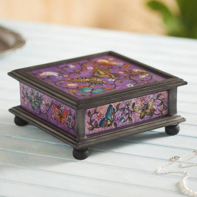 Reverse painted glass decorative box, 'Purple Winter Butterflies' - Reverse Painted Glass Decorative Box with Butterflies