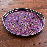 Reverse painted glass tray, 'Butterfly Waltz in Purple' - Reverse Painted Glass Tray with Butterfly Motifs in Purple