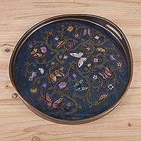 Reverse painted glass tray, 'Butterfly Waltz in Blue' - Reverse Painted Glass Tray with Butterfly Motifs in Blue