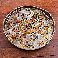 Reverse painted glass tray, 'Floral Heaven'