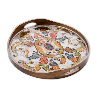 Reverse painted glass tray, 'Floral Heaven' - Reverse Painted Glass Tray with Elegant Floral Motifs