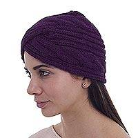 Alpaca blend hat, 'Andean Stories in Boysenberry' - Knitted Alpaca Wool Blend Hat in Boysenberry from Peru