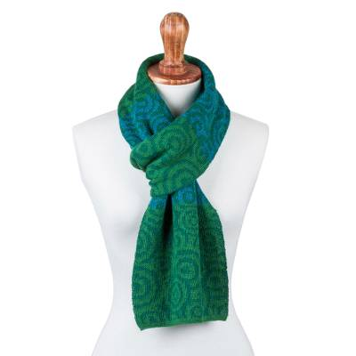 100% alpaca scarf, 'Melody of Viridian and Blue' - 100% Alpaca Scarf Patterned in Green and Blue Knit in Peru