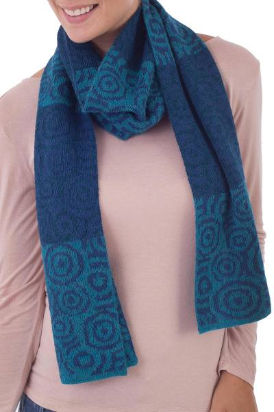 100% alpaca scarf, 'Melody of the Seas' - 100% Alpaca Scarf with Dark and Light Blue Knitted Patterns