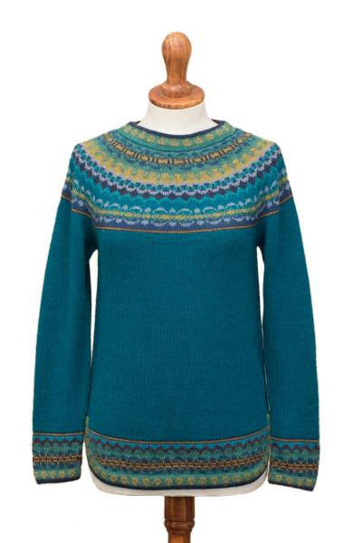 100% alpaca sweater, 'Playful Teal' - Teal & Blue 100% Alpaca Pullover Patterned Peruvian Sweater