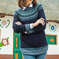 100% alpaca sweater, 'Playful Navy Blue' - Navy Blue 100% Alpaca Pullover Patterned Peruvian Sweater