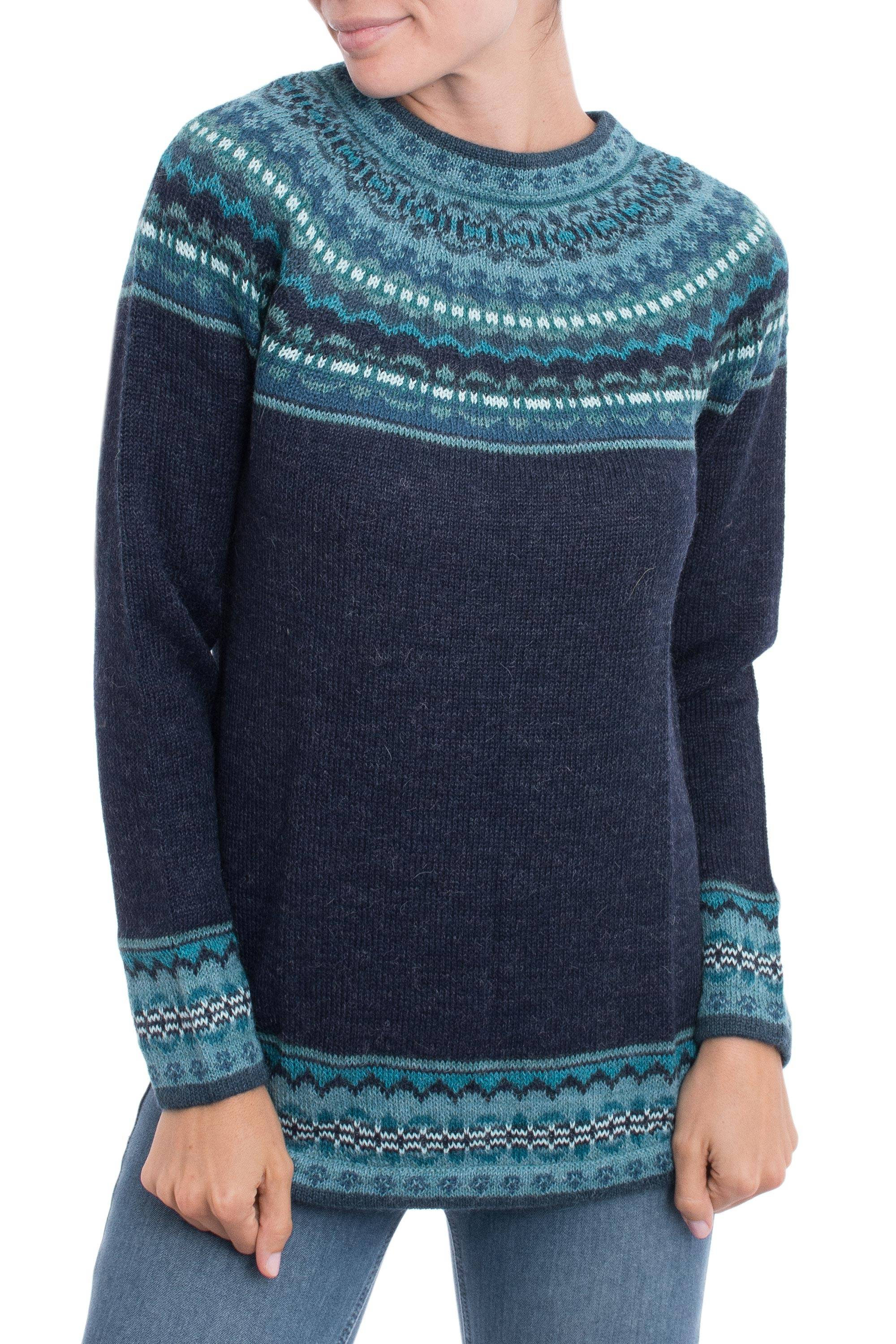 a179966bef01 Navy Blue 100% Alpaca Pullover Patterned Peruvian Sweater,