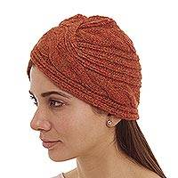 Alpaca blend hat, 'Andean Stories in Persimmon' - Knitted Alpaca Wool Blend Hat in Persimmon Orange from Peru
