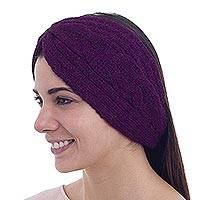 Headband Ear Warmer - Trendy Boysenberry Color Ear Warmer in Alpaca Blend Knit
