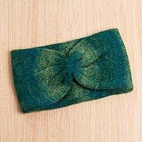 Alpaca blend ear warmer, 'Morpheus Dreams' - Original Cyan and Green Alpaca Wool Blend Ear Warmer