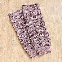 100% alpaca arm warmers, 'Andean Coast in Dusty Rose' - 100% Alpaca Arm Warmers in Dusty Rose from Peru