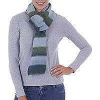 Alpaca scarf, 'Striped Temptation' - Alpaca Blend Striped Scarf in Light Olive and Cyan from Peru