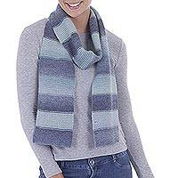 Alpaca scarf, 'Striped Temptation in Celadon' - Alpaca Blend Striped Scarf in Celadon and Cadet Blue