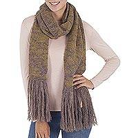 100% baby alpaca scarf, 'Andean Scent in Cocoa' - 100% Alpaca Knit Scarf in Honey and Cocoa from Peru