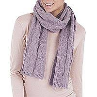 Baby alpaca scarf, 'Smoke Grey Knit Braid' - Baby Alpaca Peruvian Wool Scarf in Smoke and Petal Pink