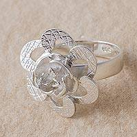 Sterling silver cocktail ring, 'Petal Attraction' - Artisan Crafted 925 Sterling Silver Floral Cocktail Ring