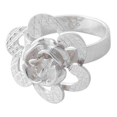 Sterling silver flower cocktail ring, 'Petal Attraction' - Artisan Crafted 925 Sterling Silver Floral Cocktail Ring