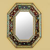 Reverse painted glass wall mirror, 'Floral Journey' - Reverse Painted Glass Multicolored Floral Mirror from Peru