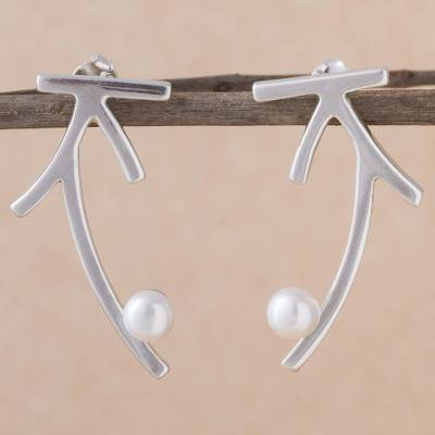 Cultured pearl drop earrings, 'Modern Branches' - Branch-Shaped Drop Earrings with Cultured Pearls from Peru