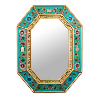 Reverse painted glass wall mirror, 'Floral Infinity' - Reverse Painted Glass Floral Mirror in Teal from Peru