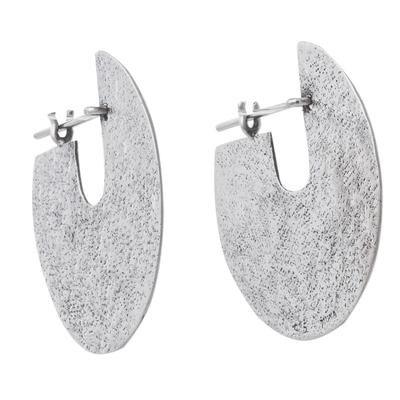 Sterling Silver Modern Hoop Earrings from Peru