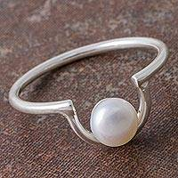 Cultured pearl cocktail ring, 'Glowing Semicircle' - Cultured Pearl and Silver U-Shaped Cocktail Ring from Peru
