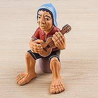 Ceramic sculpture, 'The Guitarist' - Hand Painted Ceramic Sculpture of Andean Guitarist