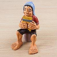 Ceramic sculpture, 'Pan Flute Musician' - Ceramic Sculpture of Man Playing Pan Flute