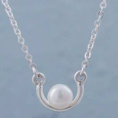 Cultured pearl pendant necklace, 'A Pact of Love' - White Pearl on 925 Sterling Silver Necklace from Peru