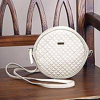 Leather sling handbag, 'Chic Circle in Champagne' - Hand Crafted Leather Sling Handbag in Champagne from Peru