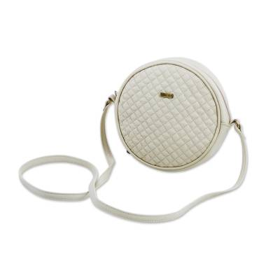Hand Crafted Leather Sling Handbag in Champagne from Peru