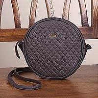 Leather sling handbag, 'Chic Circle in Espresso' - Leather Sling Handbag in Espresso by Peruvian Artisans