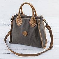 Leather accent cotton shoulder bag, 'Brown Mushroom'