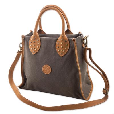 Leather accent cotton shoulder bag, 'Brown Mushroom' - Leather Accent Cotton Handle Shoulder Bag in Mushroom Peru