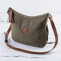 Leather accent cotton shoulder bag, 'Clay Satisfaction'