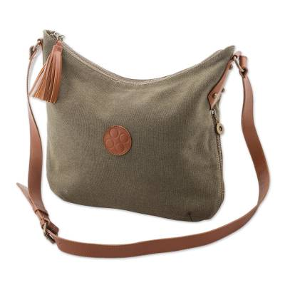 Leather accent cotton shoulder bag, 'Clay Satisfaction' - Leather Accent Cotton Shoulder Bag in Clay from Peru