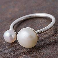 Cultured pearl wrap ring, 'Glowing Planets' - Cultured Pearl and Sterling Silver Wrap Ring from Peru