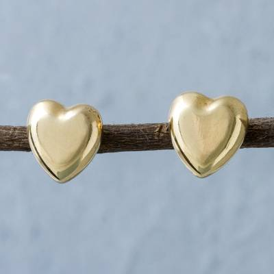 Gold plated heart stud earrings, 'Secrets of the Heart' - Gold Plated 950 Silver Heart Shaped Stud Earrings from Peru