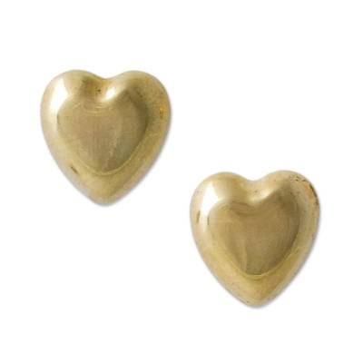 Gold plated heart stud earrings, 'Secrets of the Heart' - Gold Plated Silver Heart Shaped Stud Earrings from Peru