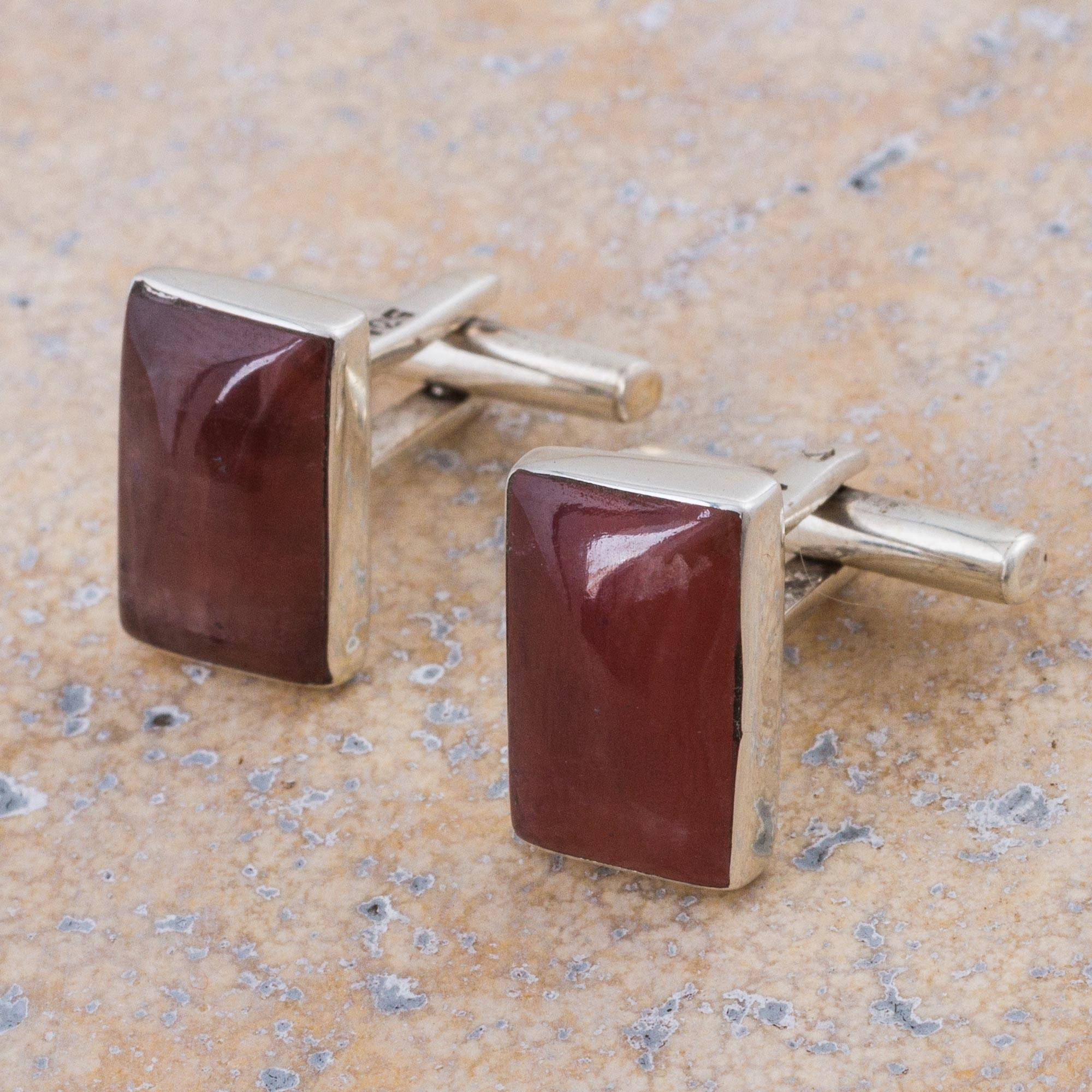 Novica Rhodochrosite cufflinks, Fiery Dreams
