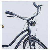 'Vintage Memories' - Signed Art Realist Painting of a Blue Bicycle from Peru