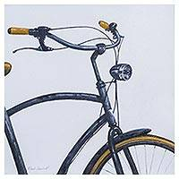 'Grey Bicycle' - Signed Realist Painting of a Grey Bicycle with Yellow Accent