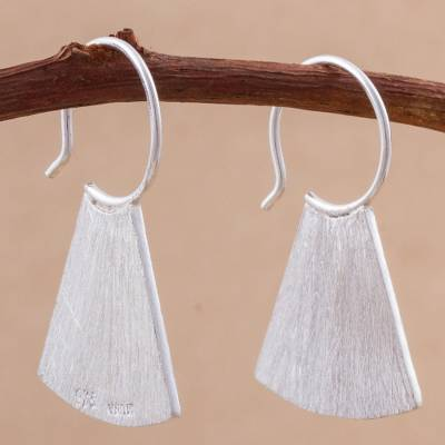Sterling silver half-hoop earrings, 'Modern Fans' - Sterling Silver Modern Half-Hoop Earrings from Peru