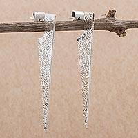 Sterling silver drop earrings, 'Stellar Rain' - Sterling Silver Modern Drop Earrings from Peru