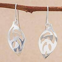Sterling silver dangle earrings, 'Leaves of Paradise' - Sterling Silver Leaf Dangle Earrings from Peru