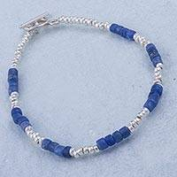 Sodalite beaded bracelet, 'Stylish Blue' - Hand Crafted Sodalite and Sterling Silver Bracelet from Peru