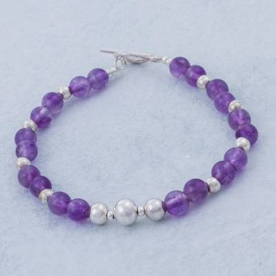 Amethyst beaded bracelet, 'Touch of Purple' - Handcrafted Amethyst and Sterling Silver Bracelet from Peru
