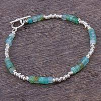 Opal beaded bracelet, 'Stylish Teal'