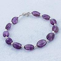 Amethyst beaded bracelet, 'Enchanted Purple'