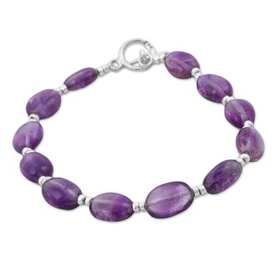 Amethyst beaded bracelet, 'Enchanted Purple' - Purple Amethyst Beaded Bracelet from Peru